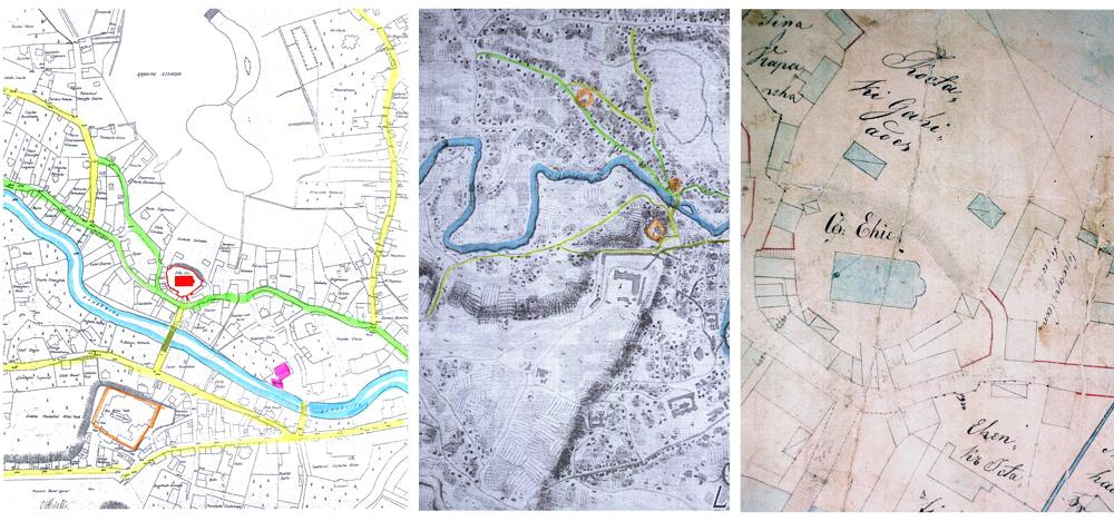 De la stânga la dreapta : Planul Purcell 1791, Planul Purcell – detaliu şi Planul Borroczyn 1847 – detaliu.
